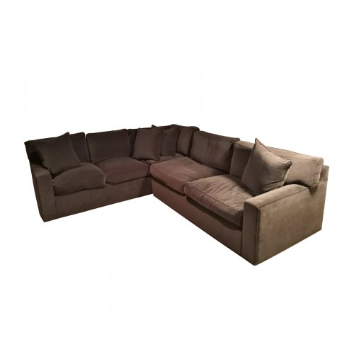 Two Design Lovers grey velvet sofa
