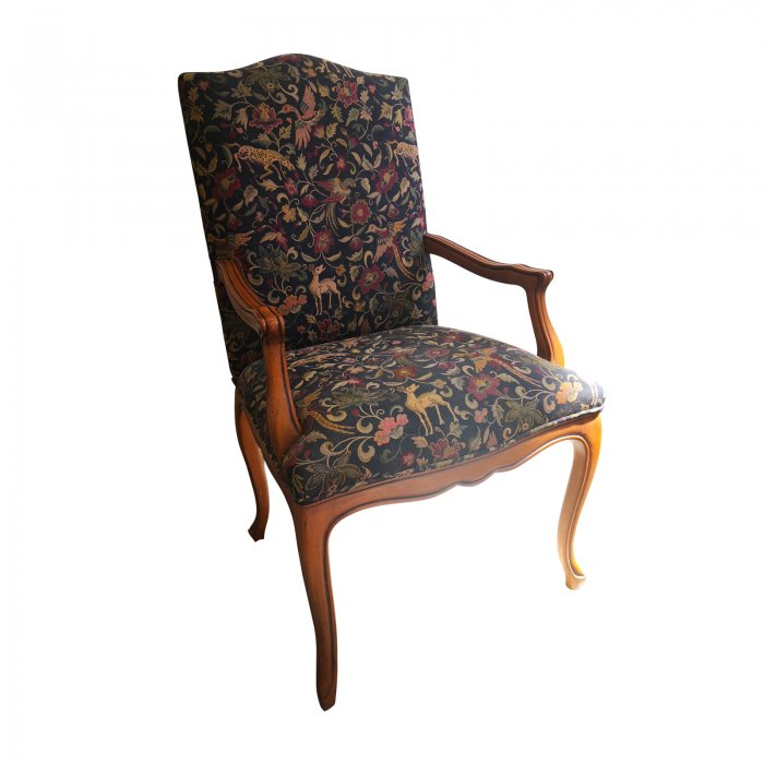 Two Design Lovers traditional carver chair tapestry