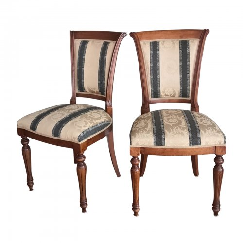 Upholstered Italian dining chair pair