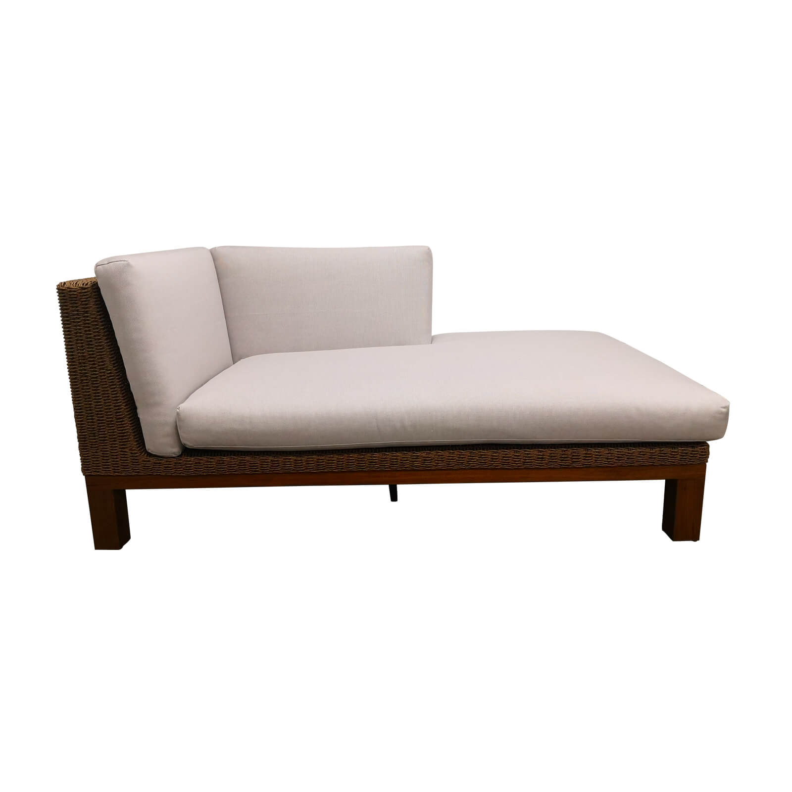 Two Design Lovers outdoor furniture teak and wicker chaise Osier Belle Joli