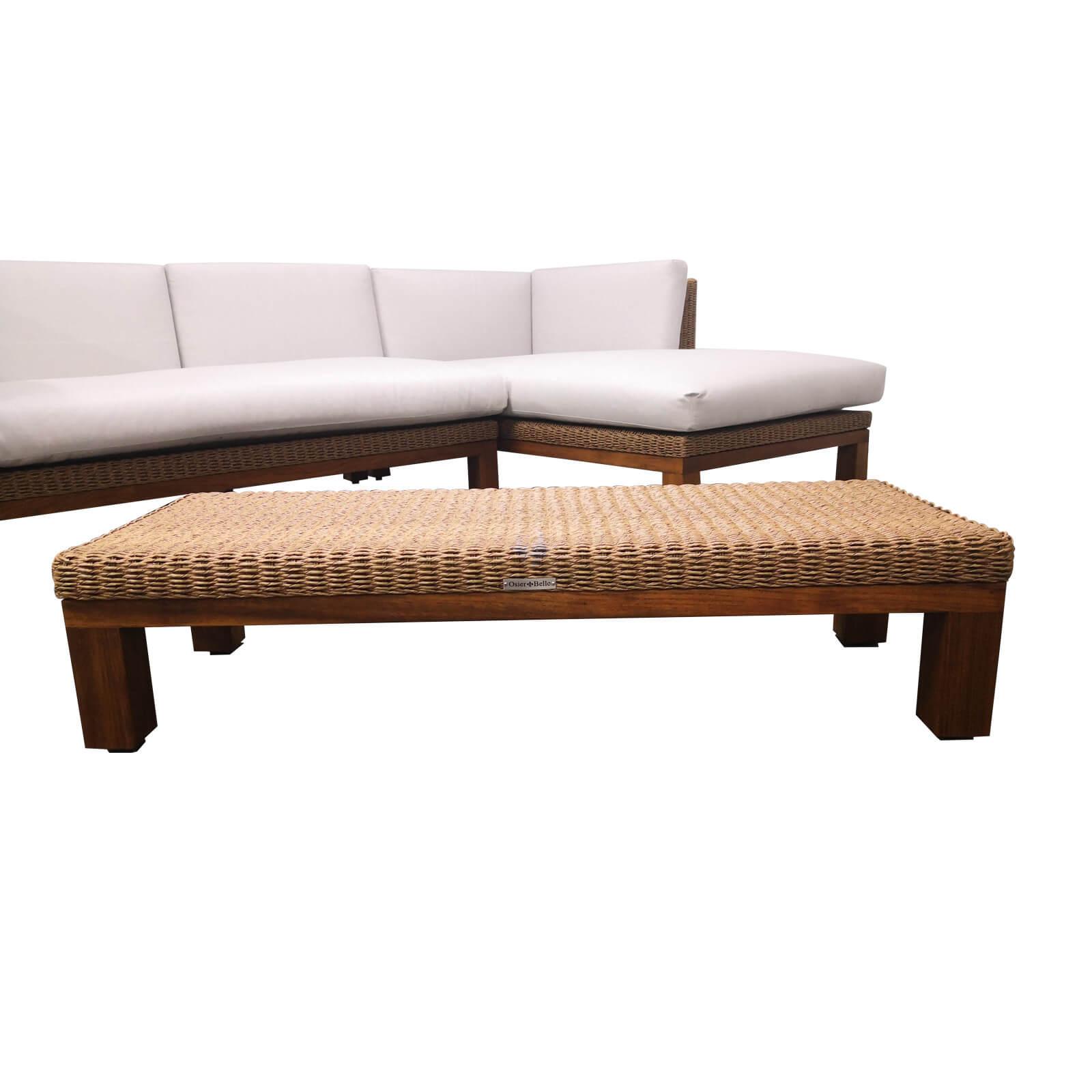 Two Design Lovers outdoor furniture teak and wicker coffee table Osier Belle Joli