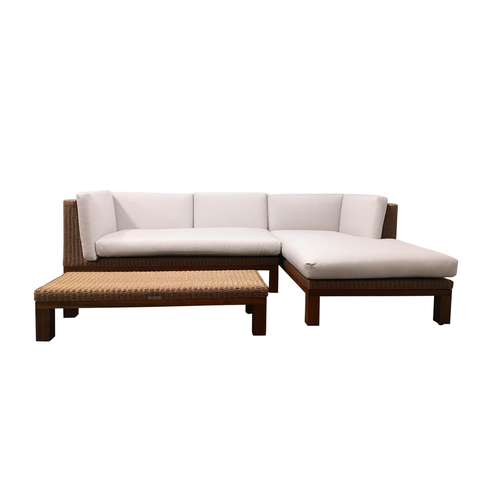 Two Design Lovers outdoor furniture teak and wicker sofa set with coffee table Osier Belle Joli