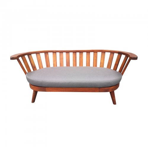 Two Design Lovers outdoor furniture Osier Belle teak rounded back sofa coal fabric