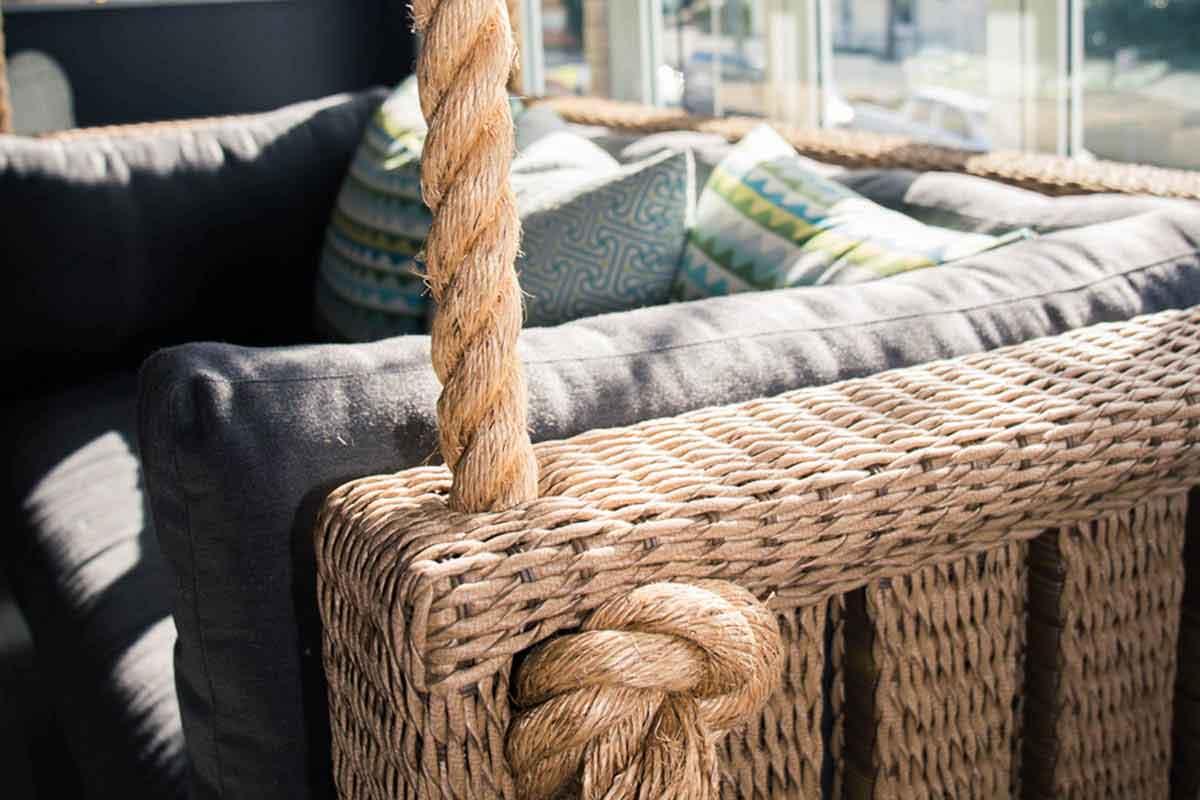 Wicker Hanging Lounge rope detail