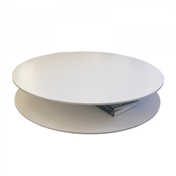 Two Design Lovers The Altavilla table by Giulio Cappellini is composed of two round wooden tops lacquered in the colours of the collection, with a matte or glossy finish. Both tops are connected with a stem made of polished chromed steel; the feet, equipped with felt pads, are made of polished chromed steel.