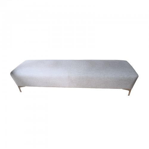Upholstered ottoman in taupe fabric weave