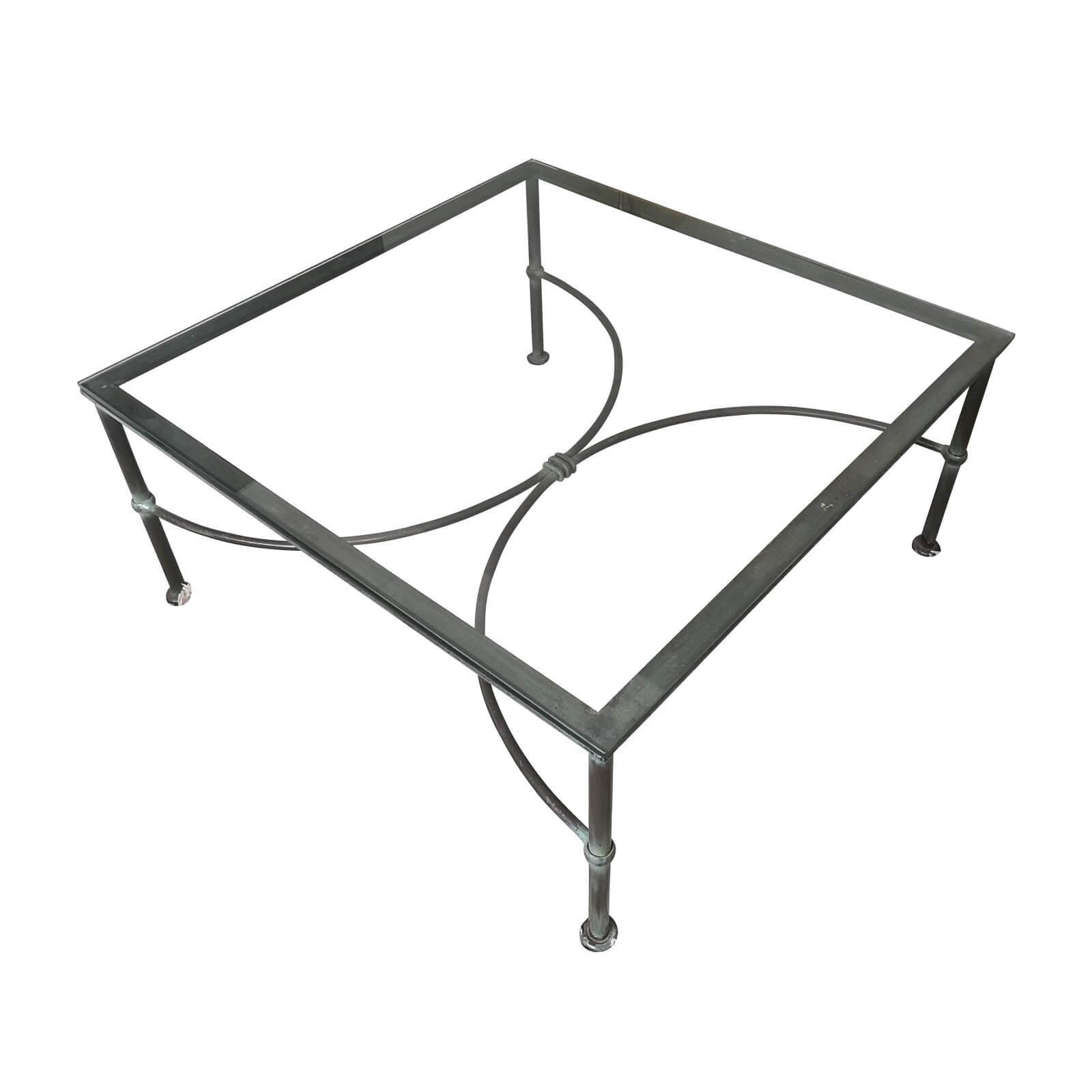 Wrought iron glass topped coffee table