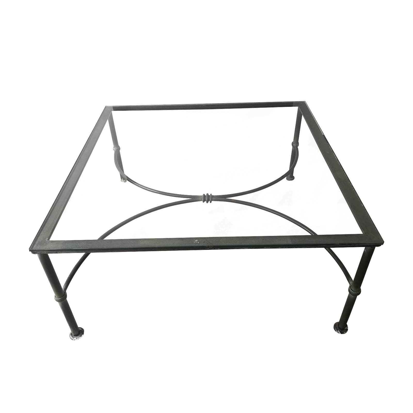 Wrought iron glass topped coffee table front