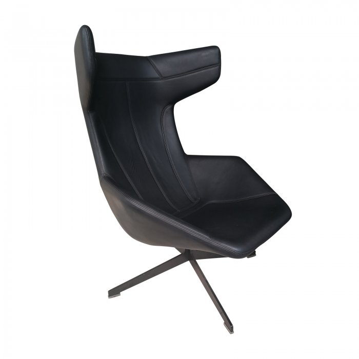 Two Design Lovers Moroso Take a Line for a Walk black swivel chair with footstool