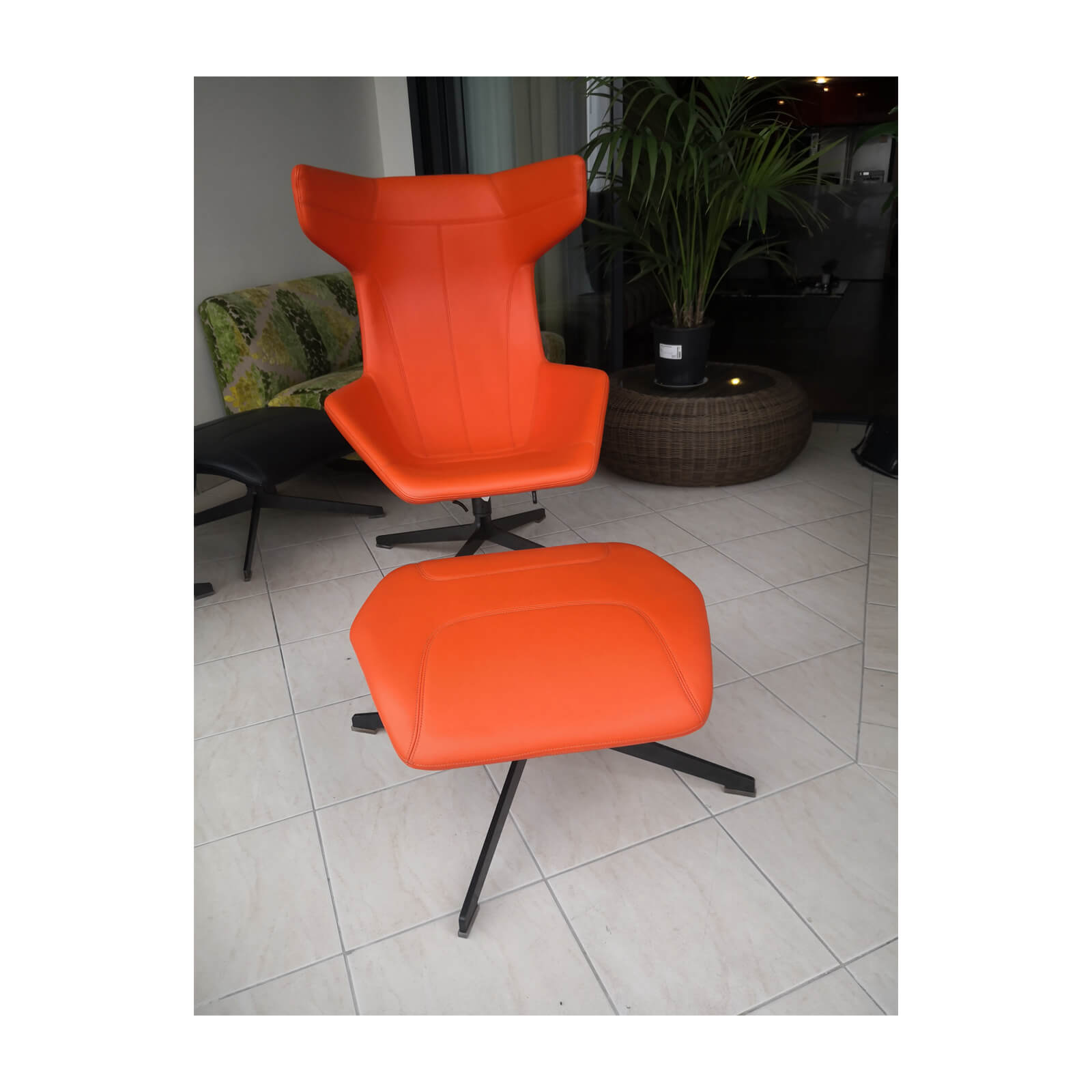 Two Design Lovers Moroso Take a Line for a Walk orange swivel chair with footstool 5