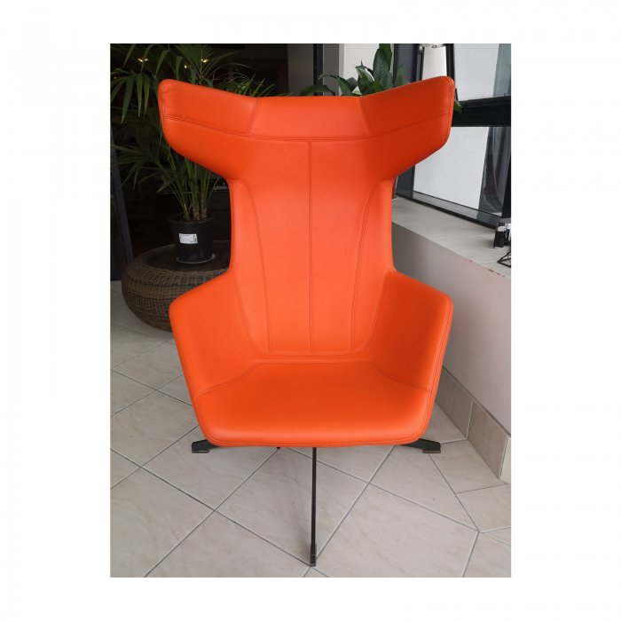 Two Design Lovers Moroso Take a Line for a Walk orange swivel chair with footstool 7