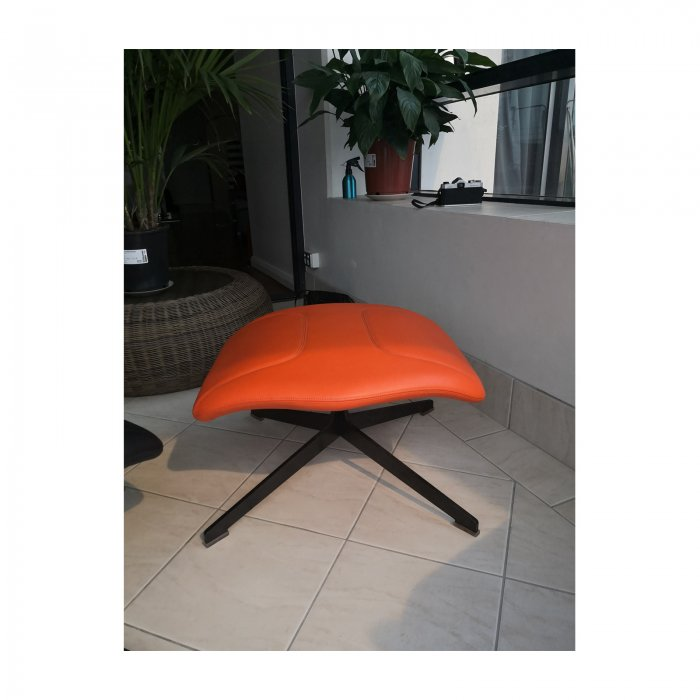 Two Design Lovers Moroso Take a Line for a Walk orange swivel chair with footstool 9