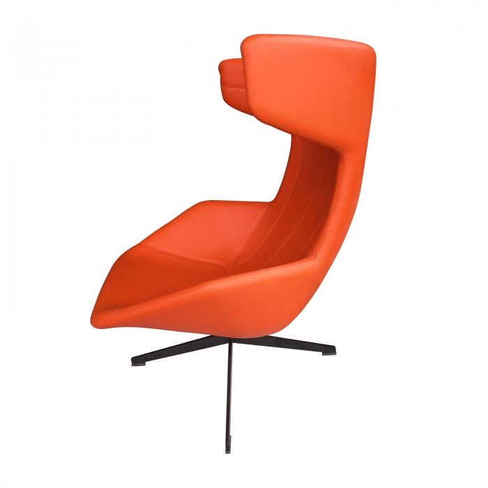 Two Design Lovers Moroso Take a Line for a Walk orange swivel chair with footstool