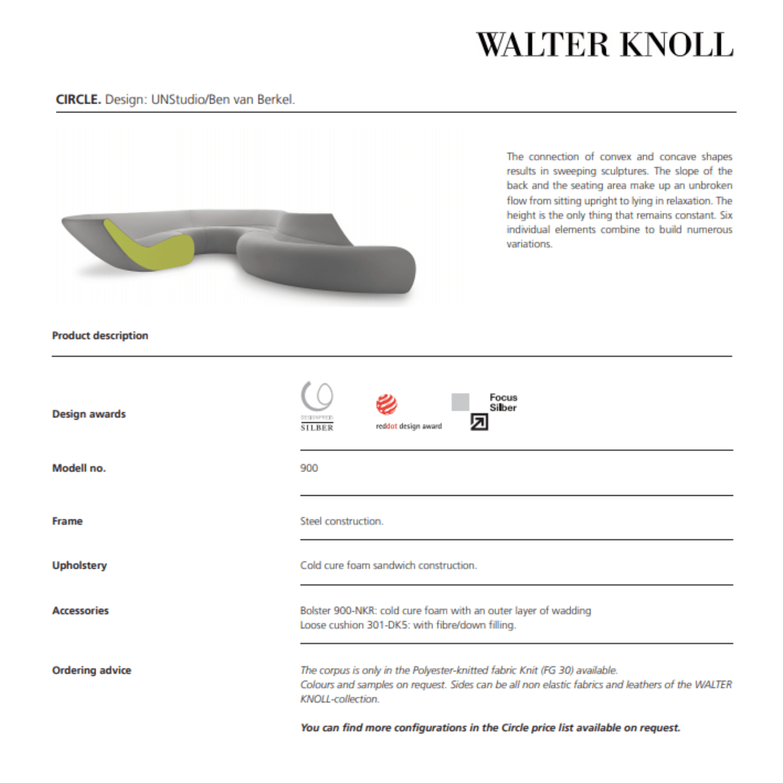 Walter Knoll Circle Sofa technical info