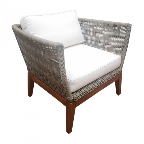 two design lovers teak and wicker armchair grey