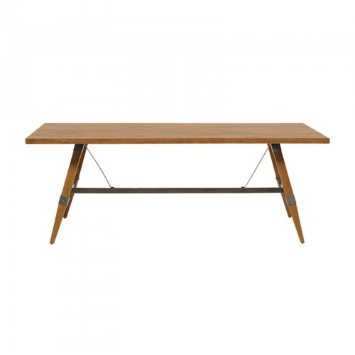 iron frame teak dining table-1