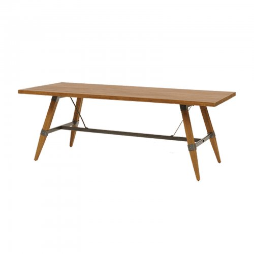 iron frame teak dining table