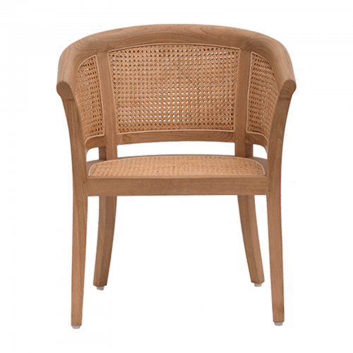 teak and cane dining chair front