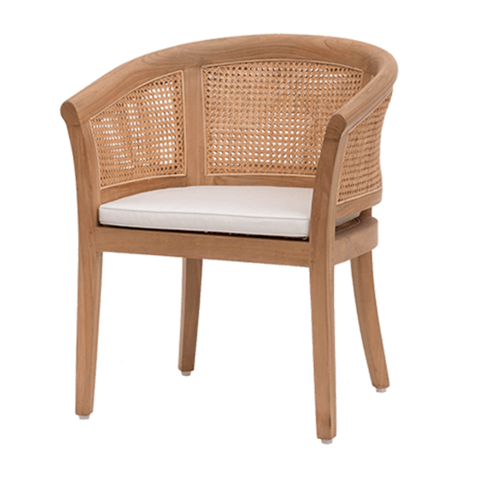 teak and cane dining chair