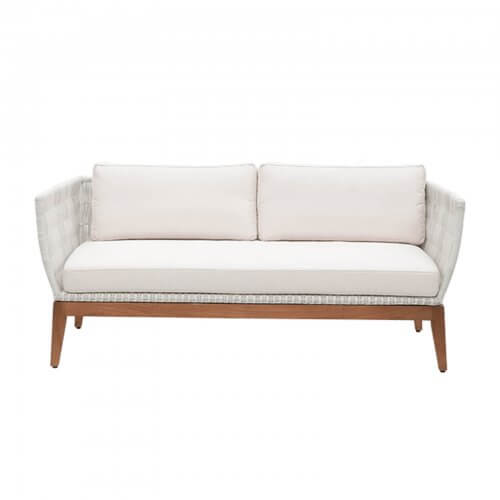 teak and white wicker sofa -1