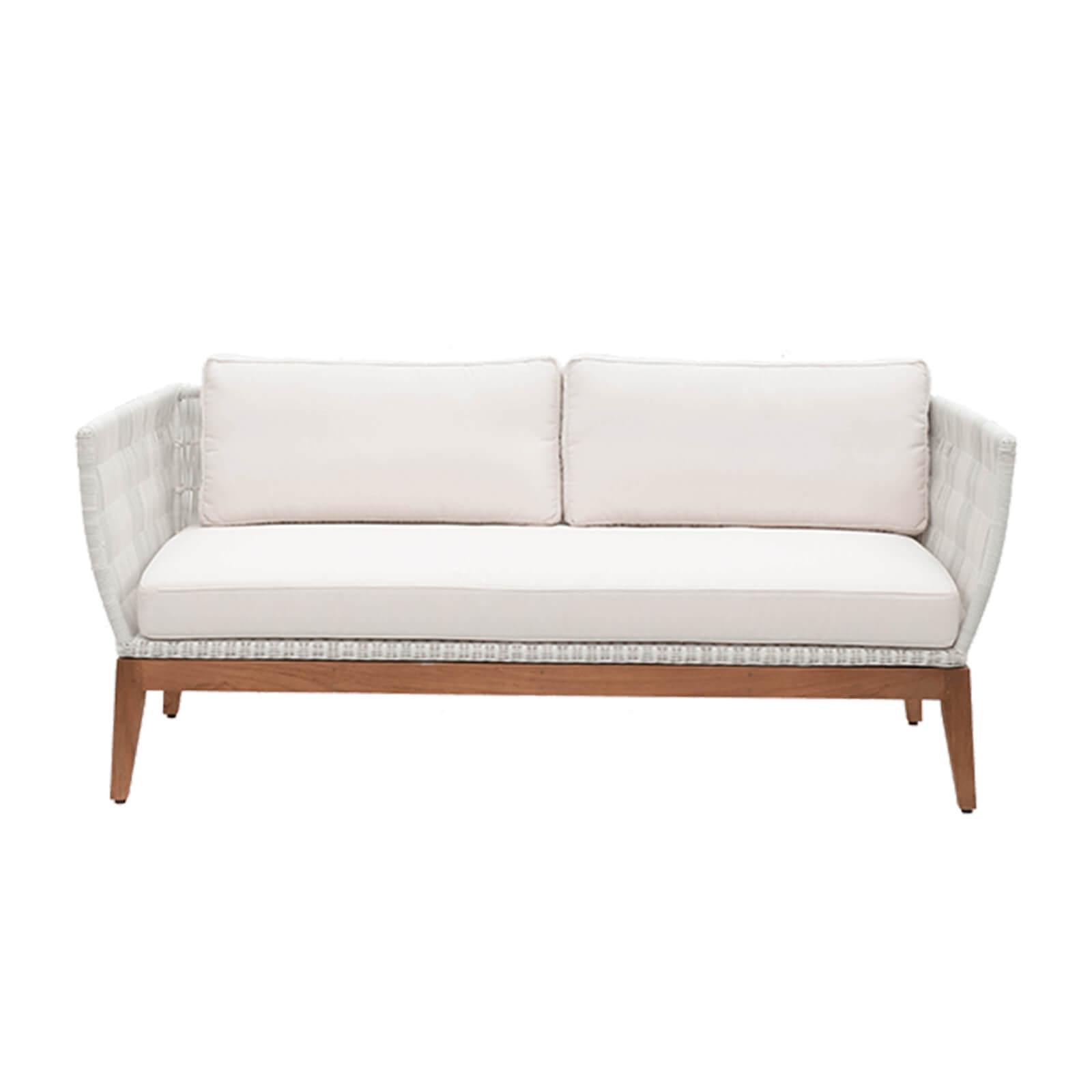 teak and white wicker sofa -1