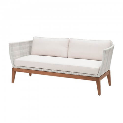 teak and white wicker sofa