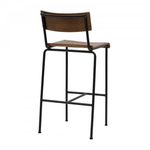 Tall barstool with wood seat - back