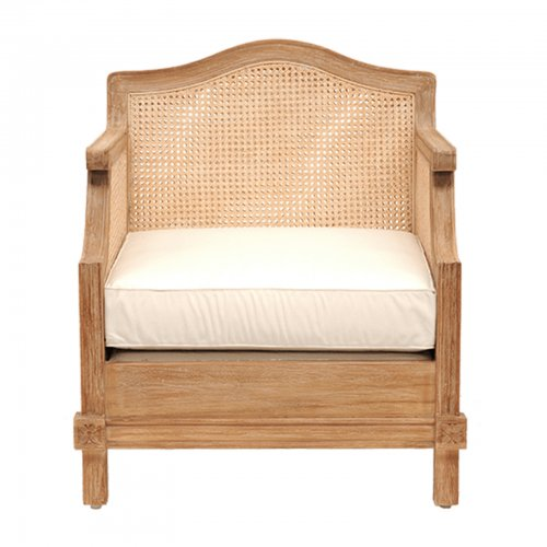 Teak and cane armchair - front