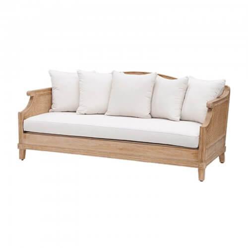 Teak and cane sofa