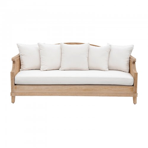 Teak and cane sofa - front