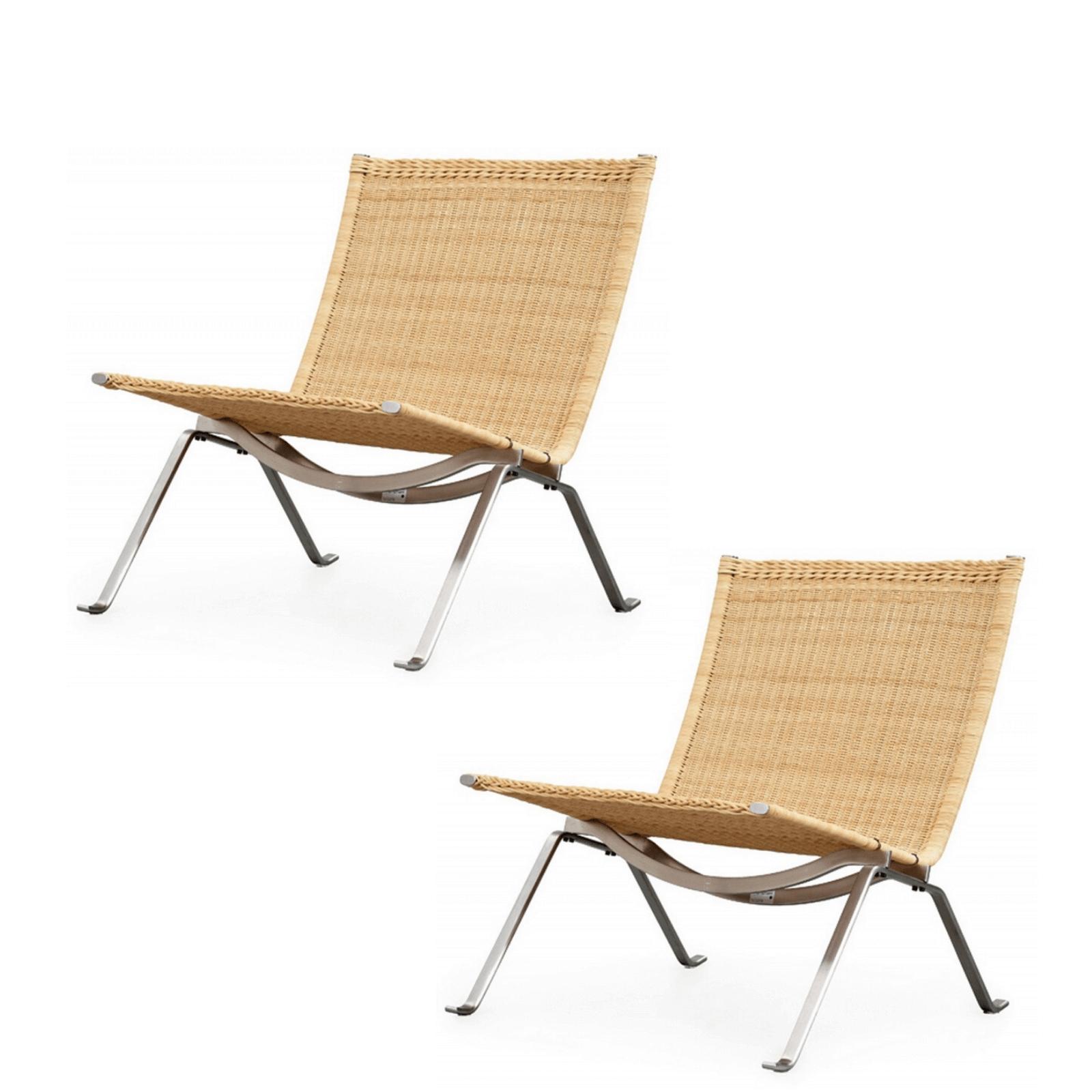 Fritz Hansen PK22 easy chairs pair
