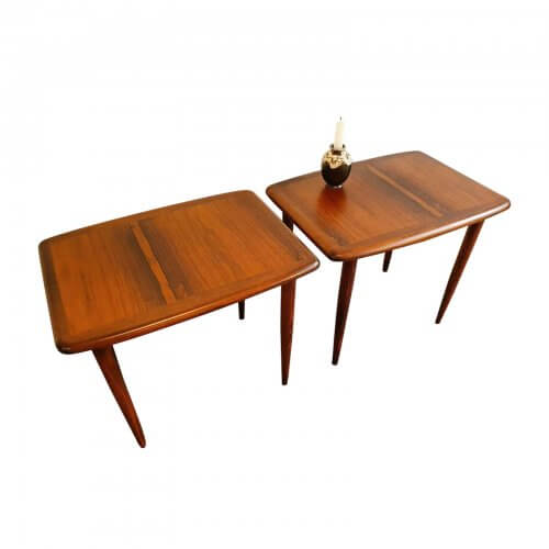 Two Design Lovers Carousel midcentury rosewood side tables