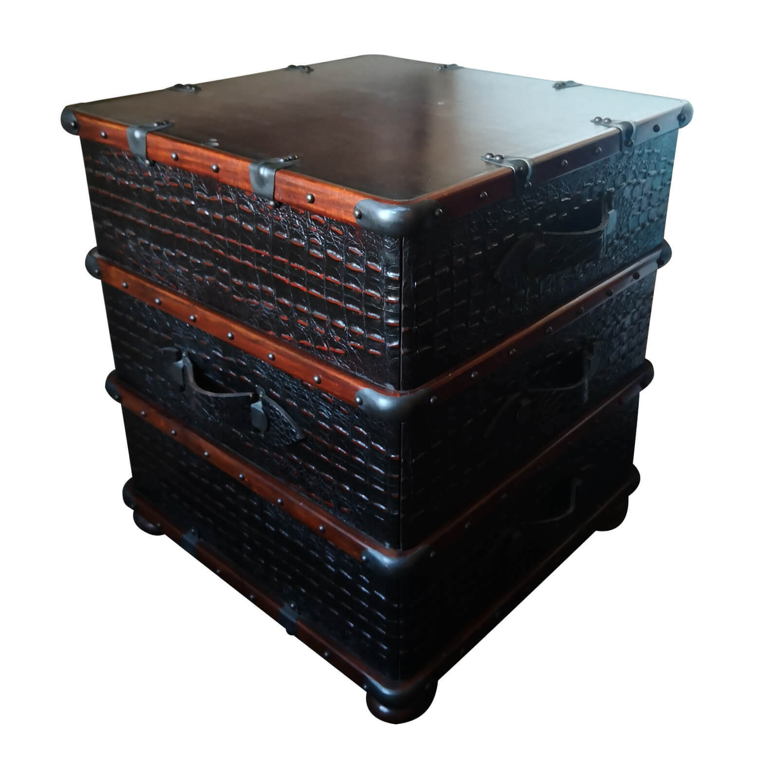 Crocodile leather trunk side table