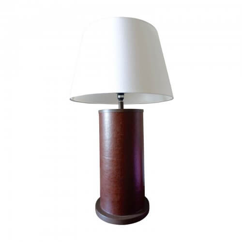 leather lamp base with cream shade
