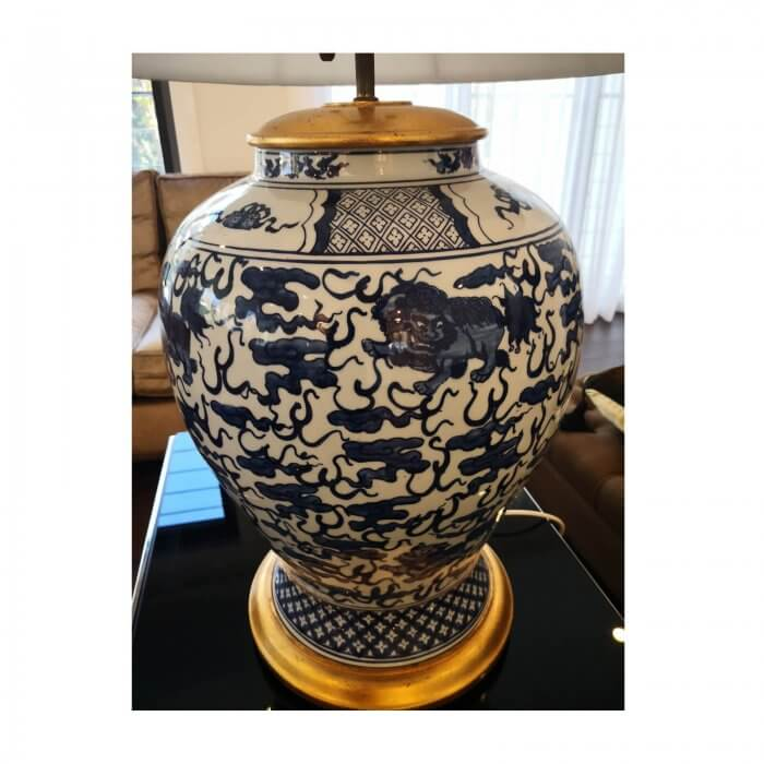 Chinoisserie blue and white ginger jar lamp with white shade