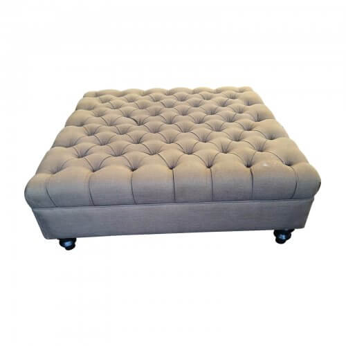 Large ottoman with button upholstery