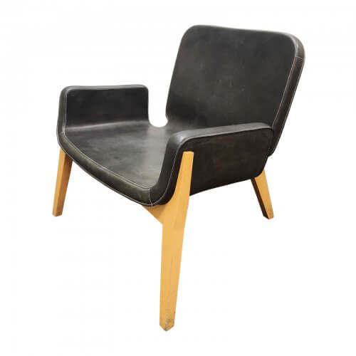 Poltrona Frau Jockey chair black leather