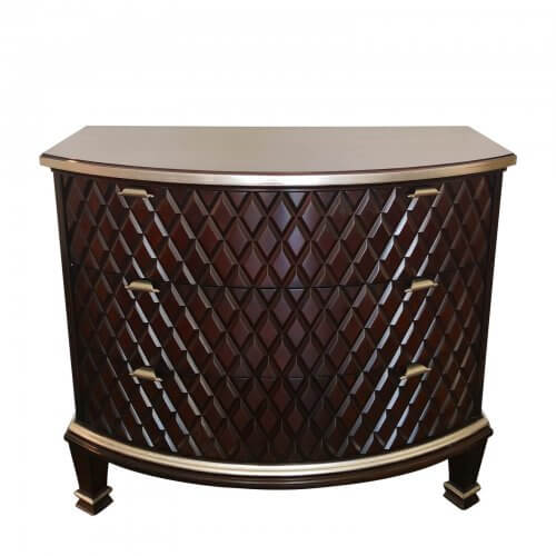 wood commode with quilted effect
