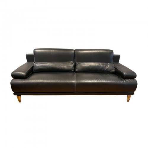 Piquattro black leather sofa 3 seater
