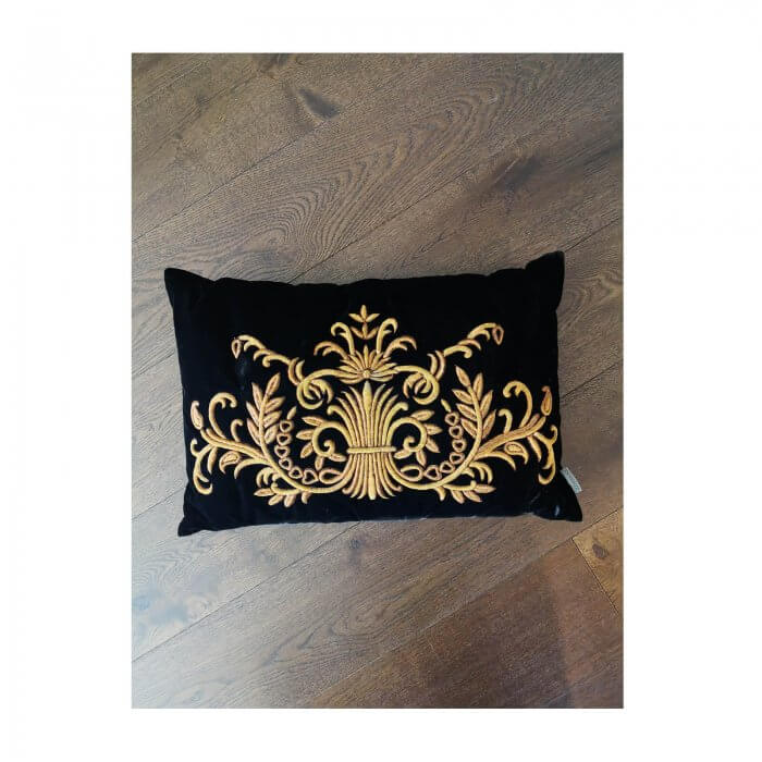 Eichholtz Gauthier black velvet cushions with gold embroidery