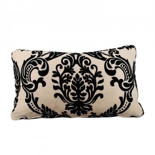 Black velvet linen fleur de lis motif cushion