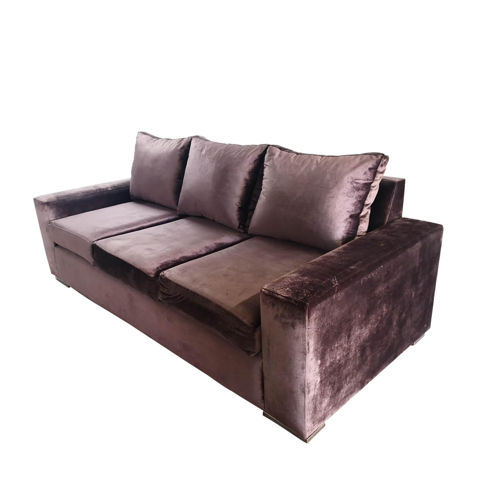 Grey velvet sofa custom made