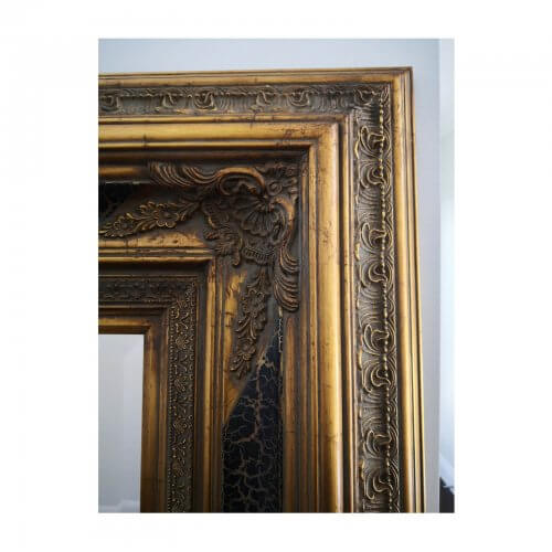 large hall mirror with dark gold frame