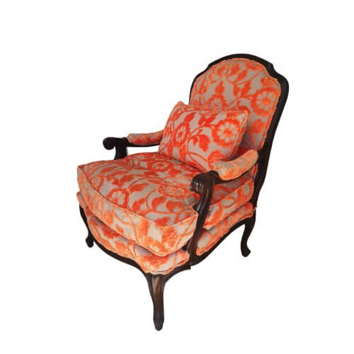 Moran Louis armchair in orange jacquard velvet