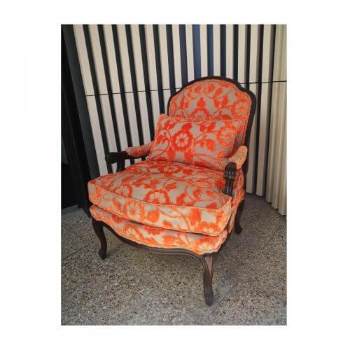 Moran Louis armchair in orange jacquard velvet