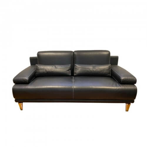 Piquattro black leather sofa 2 seater