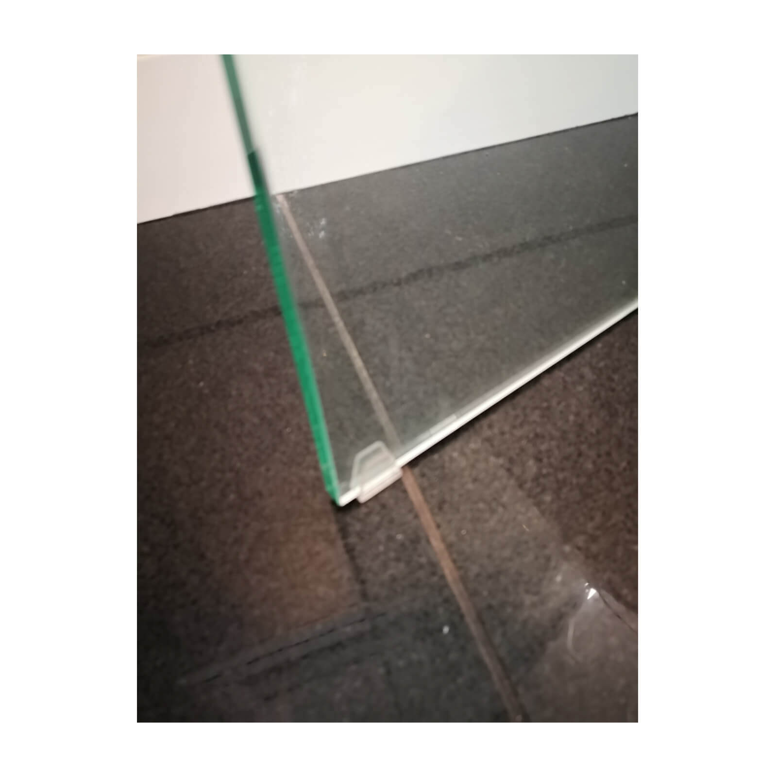 glass console table with waterfall edge