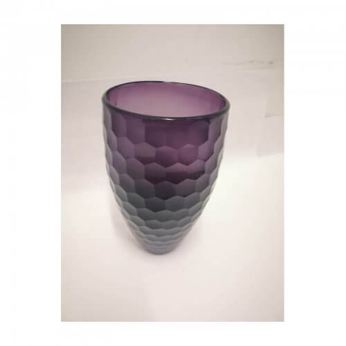 Amethyst Honeycomb Pattern Glass Vase