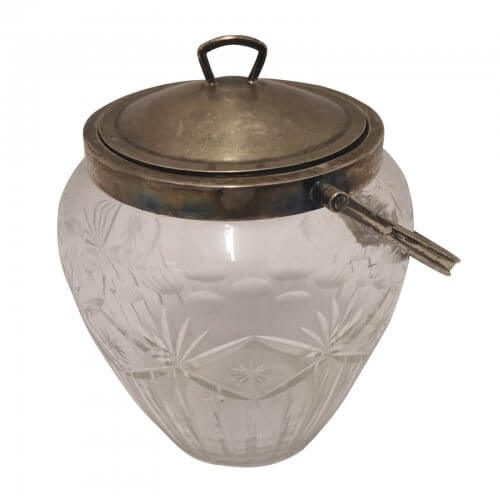 Antique Silver Lidded Glass Ice Container