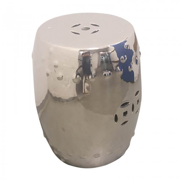 Asian Style Silver Drum Stool